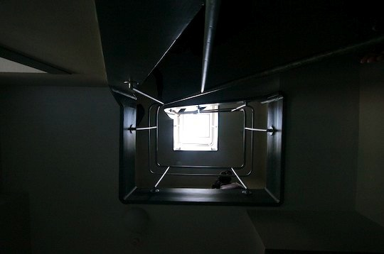 View up stairwell of Rietveld apartment.