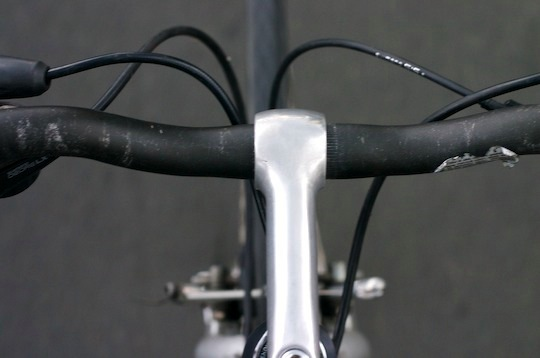 View of the handlebars while riding