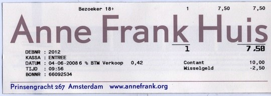 Anne Frank House Huis ticket