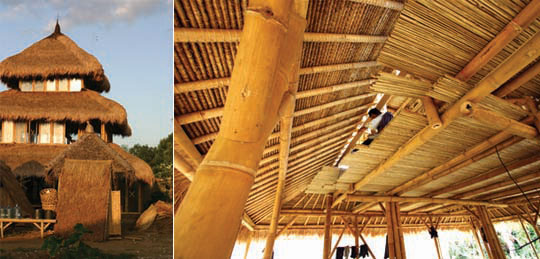 Outisde and inside view of a new three story bamboo building