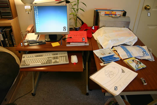 Photo of desk with computer and papers