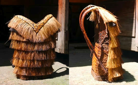 Front and side view of an Ifugao hunter backpack or bango