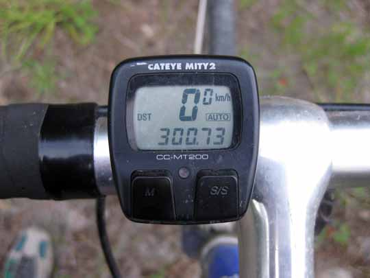 Bicycle mileage showing 300km