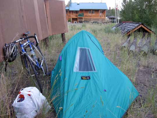 Tent and bicycle