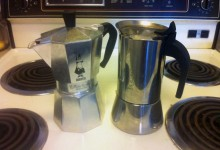 Photo of stainless steel Bialetti brand moka pot (right) and aluminum model (let).