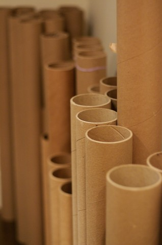 Reclaimed cardboard paper tubes for the horizontal slat supports.