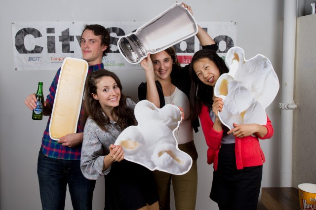 """Popcorn, butter and salt cutouts (direct image with laminate on 1/4"""" komatex) at the event photobooth."""